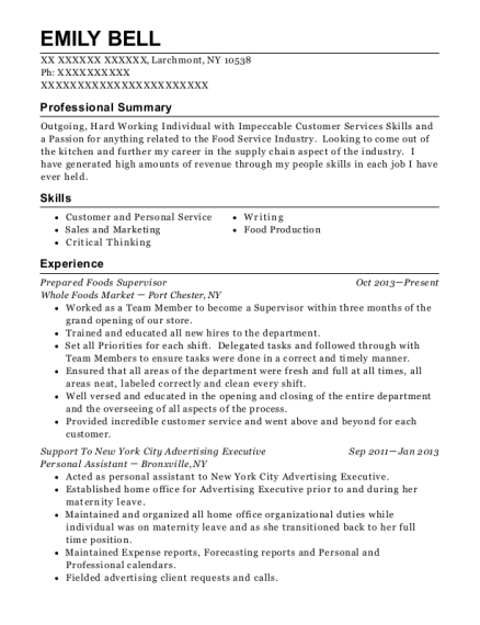 Prepared Foods Supervisor resume template New York