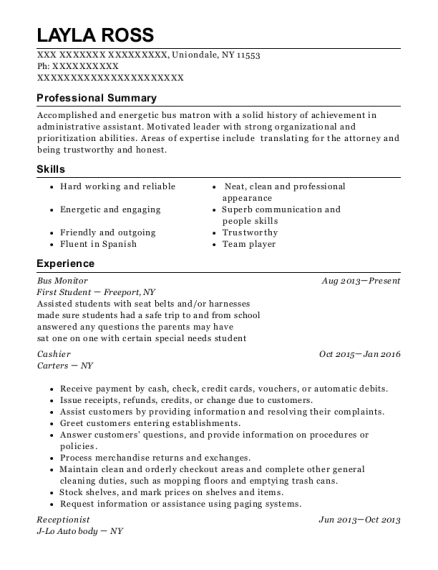 Bus Monitor resume sample New York