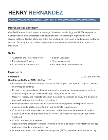 Paramedic resume example New York