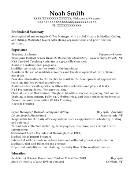 Teaching Assistant resume template New York