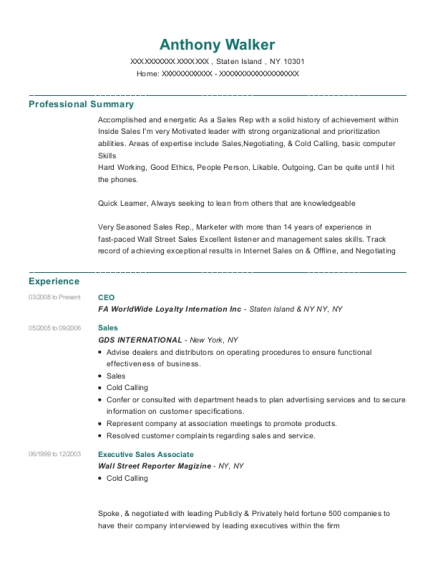 CEO resume template New York