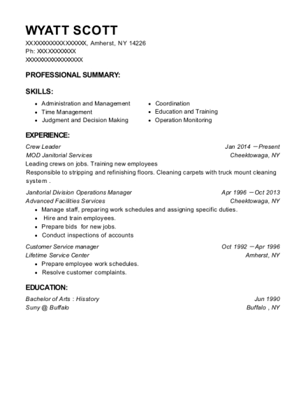 Crew Leader resume format New York