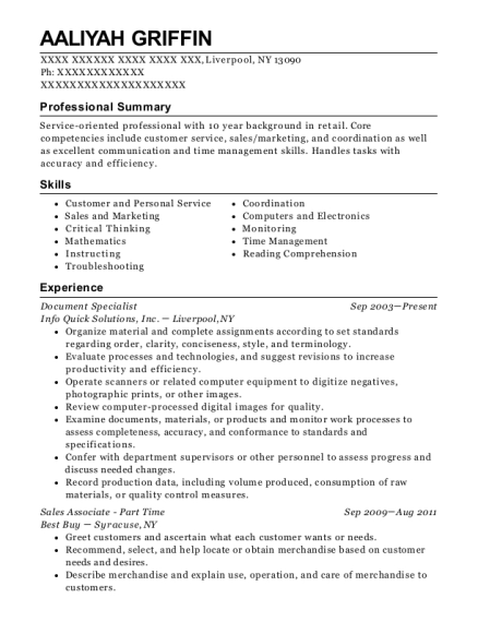 Document Specialist resume template New York