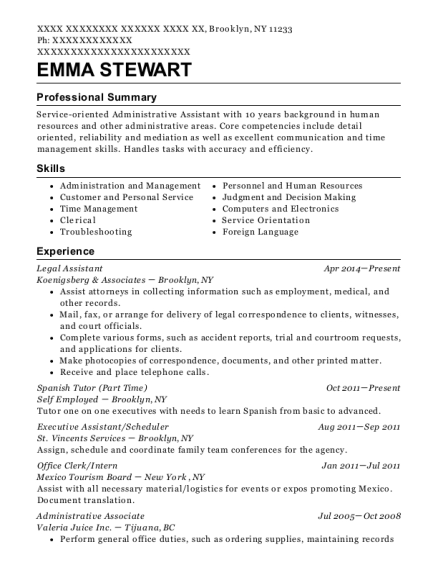 Legal Assistant resume example New York