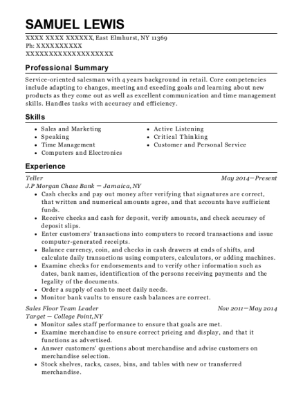 Teller resume format New York