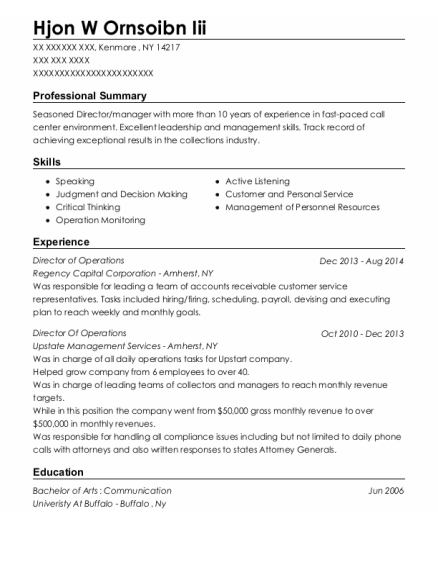 Director of Operations resume format New York