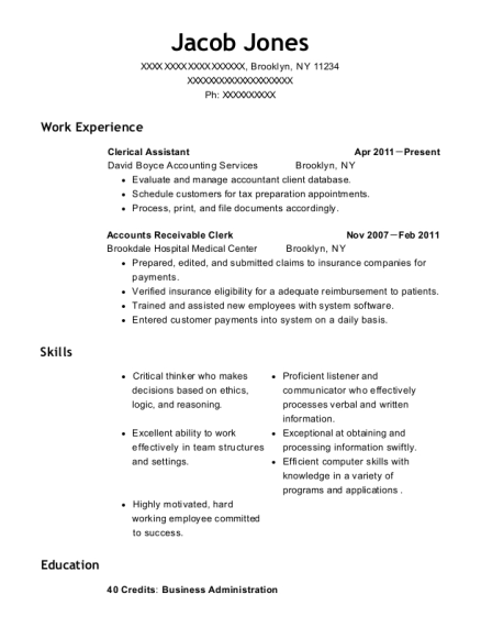 Clerical Assistant resume format New York