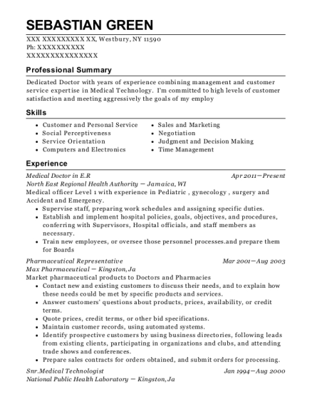 Medical Doctor in ER resume example New York