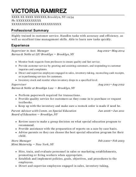 Supervisor to Asst Manager resume example New York