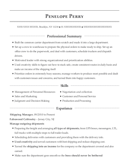 Shipping Manager resume example New York