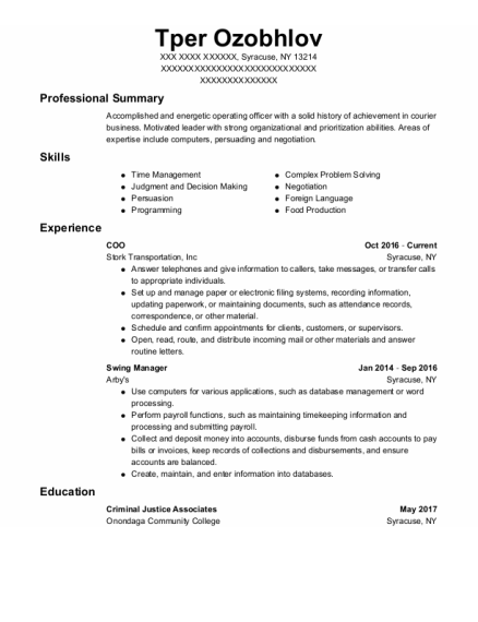 Coo resume example New York
