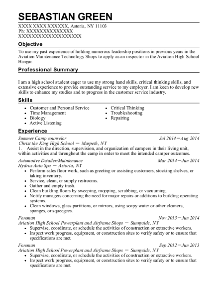 Summer Camp counselor resume template New York