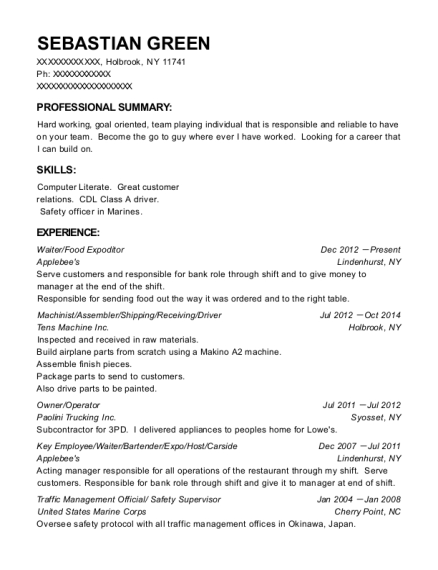 Waiter resume format New York