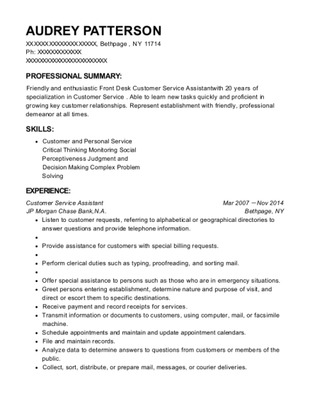 Customer Service Assistant resume template New York