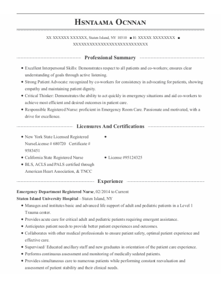 Emergency Department Registered Nurse resume template New York