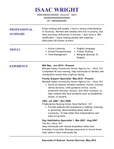 BIA Rep resume format New York