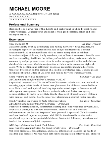 Case manager II resume example New York