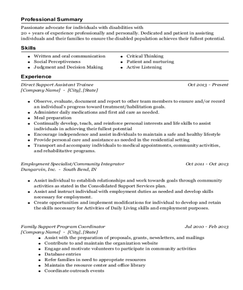 Direct Support Assistant Trainee resume example New York