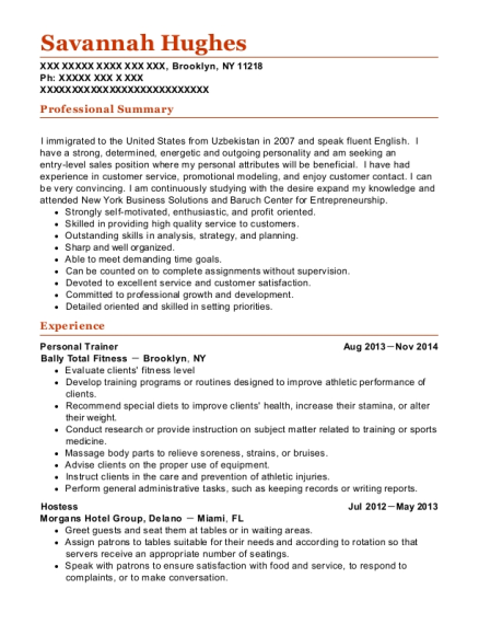 Personal Trainer resume template New York
