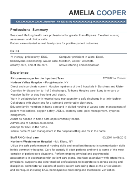 RN case manager for the Inpatient Team resume example New York