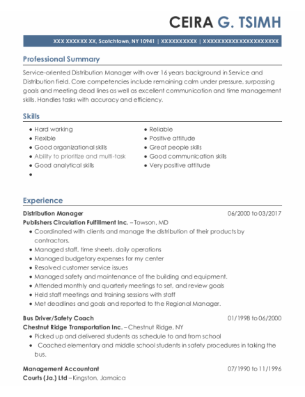 Distribution Manager resume example New York