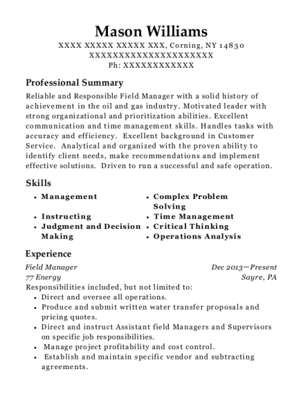 Field Manager resume template New York
