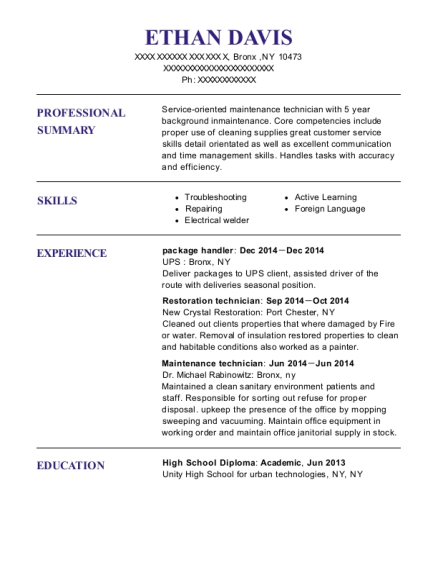 package handler resume sample New York