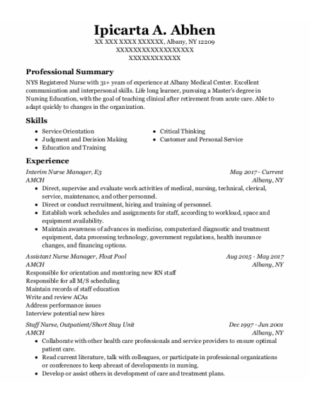 Assistant Nurse Manager resume format New York