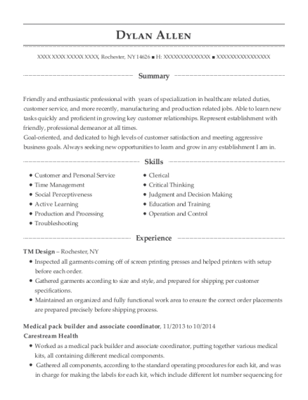 Medical pack builder and associate coordinator resume example New York