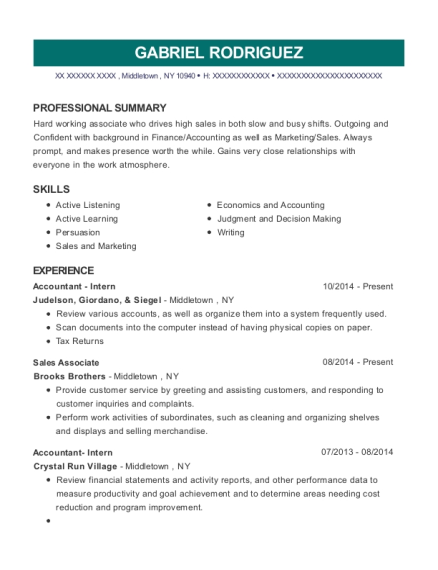 Accountant Intern resume example New York