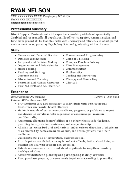 Direct Support Professional resume sample New York