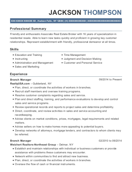 Branch Manager resume format New York