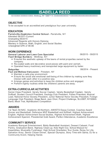 General Laborer and Lawn Care Specialist resume example New York