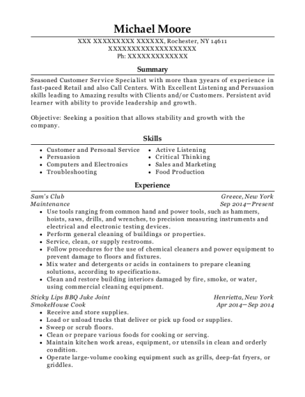 Maintenance resume template New York