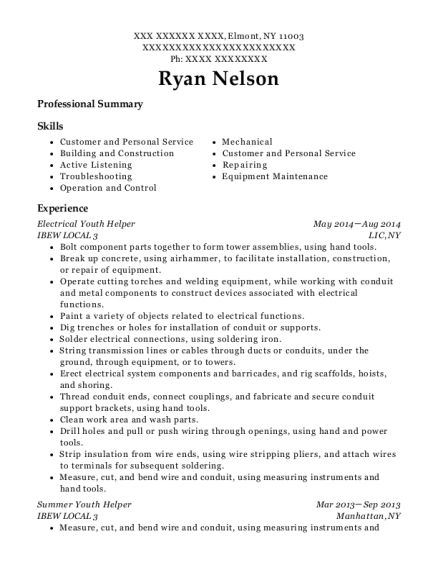 Electrical Youth Helper resume format New York