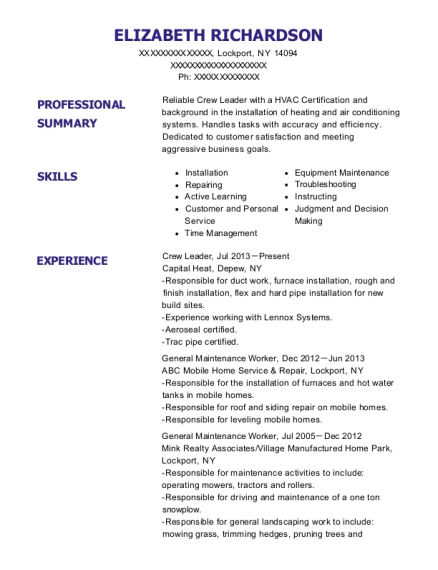 Crew Leader resume example New York