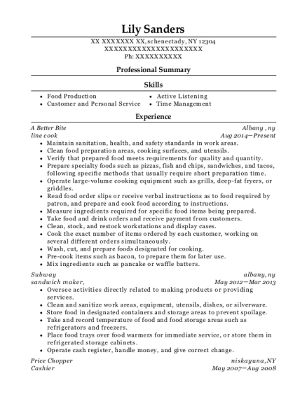 Line Cook resume sample New York