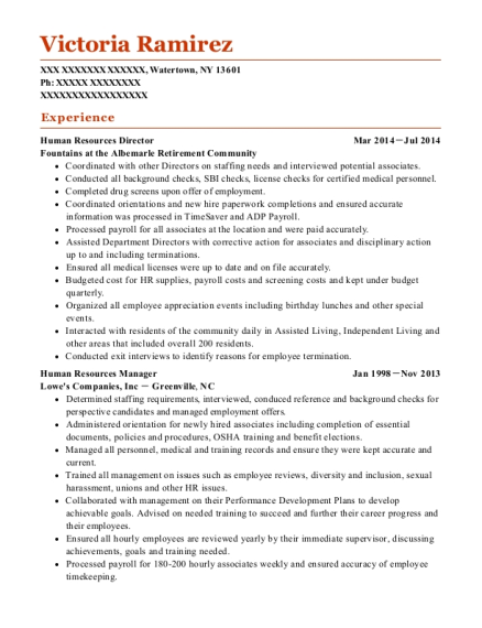 Human Resources Director resume example New York