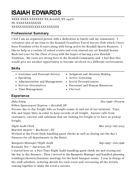 Data Entry resume format New York
