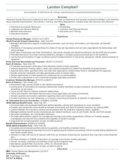Human Resources Manager resume template New York