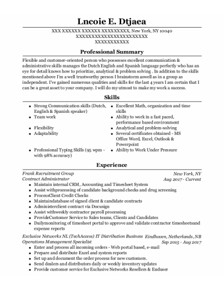 Contract Administrator resume template New York