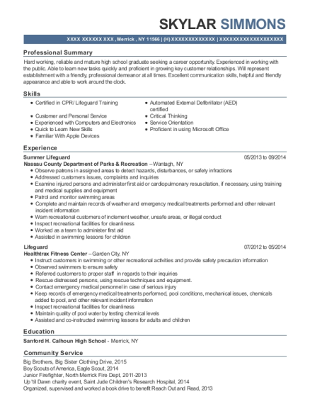 Summer Lifeguard resume format New York