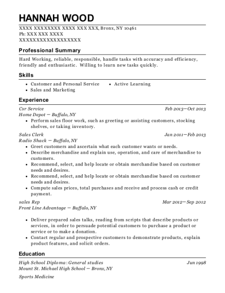 Csr Service resume template New York