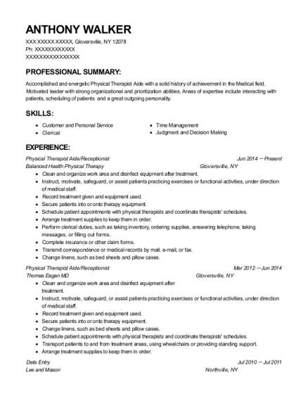 Physical Therapist Aide resume sample New York