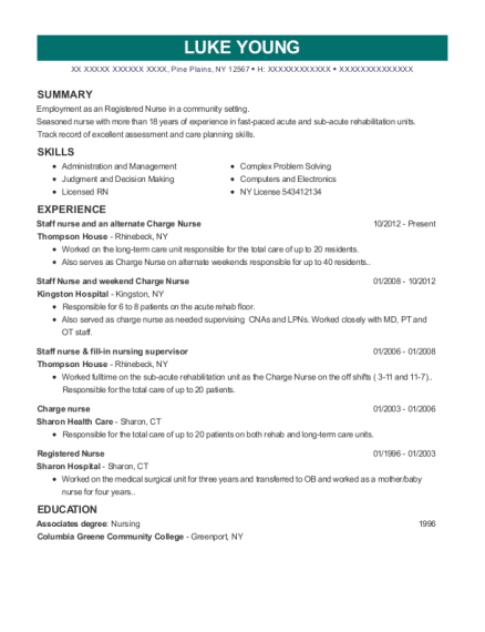 Staff nurse and an alternate Charge Nurse resume template New York