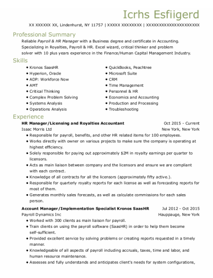 Hr Manager resume template New York