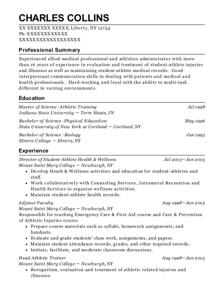 Director of Student Athlete Health & Wellness resume example New York