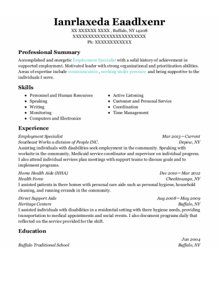 Employment Specialist resume format New York