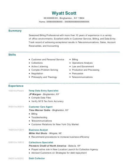 Temp Data Entry Specialist resume format New York