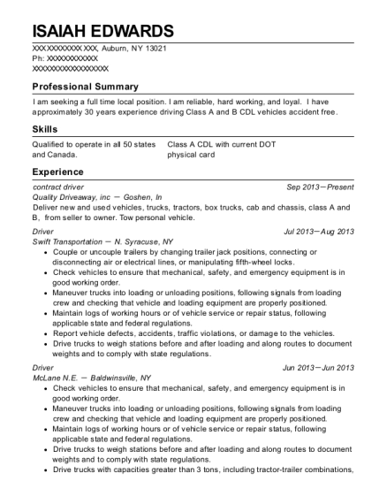 contract driver resume sample New York